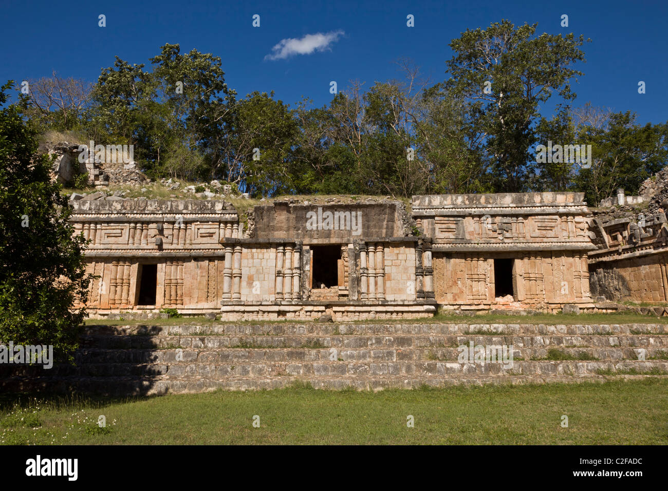Ornate facade of The Palace (El Palacio) at the Maya ruins of Labna along the Puuc Route in the Yucatan Peninsula, - Stock Image