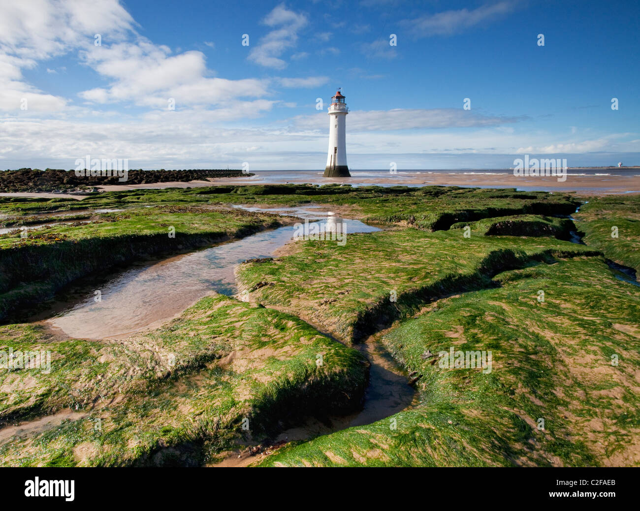 Fort Perch Rock lighthouse at New Brighton, Wirral, UK - Stock Image