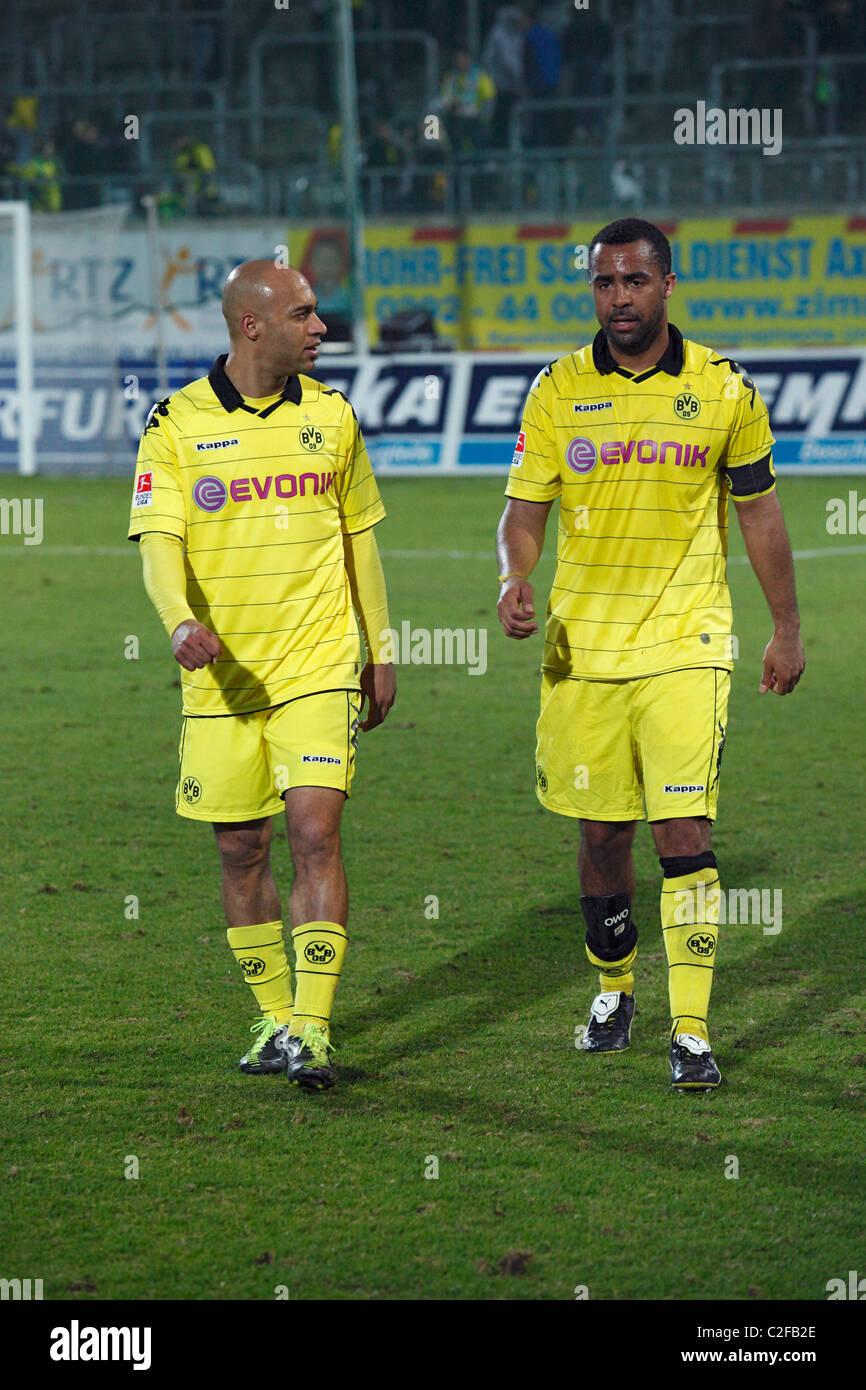 footballers Dede and Patrick Owomoyela (BVB), sports, football, Regionalliga West, Bundesliga, 2010/2011, friendly - Stock Image