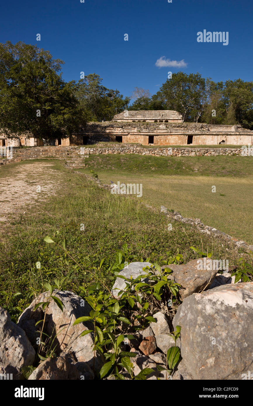 Ornate Palace (El Palacio) and sacbe at the Maya ruins of Labna along the Puuc Route in the Yucatan Peninsula, Mexico. - Stock Image