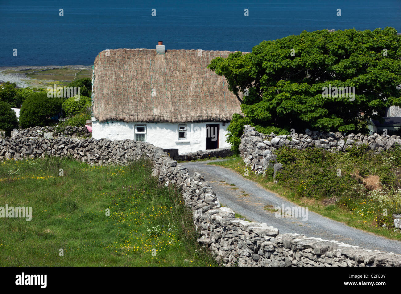 White-washed thatched cottage with dry stone walls and Galway Bay behind - Stock Image
