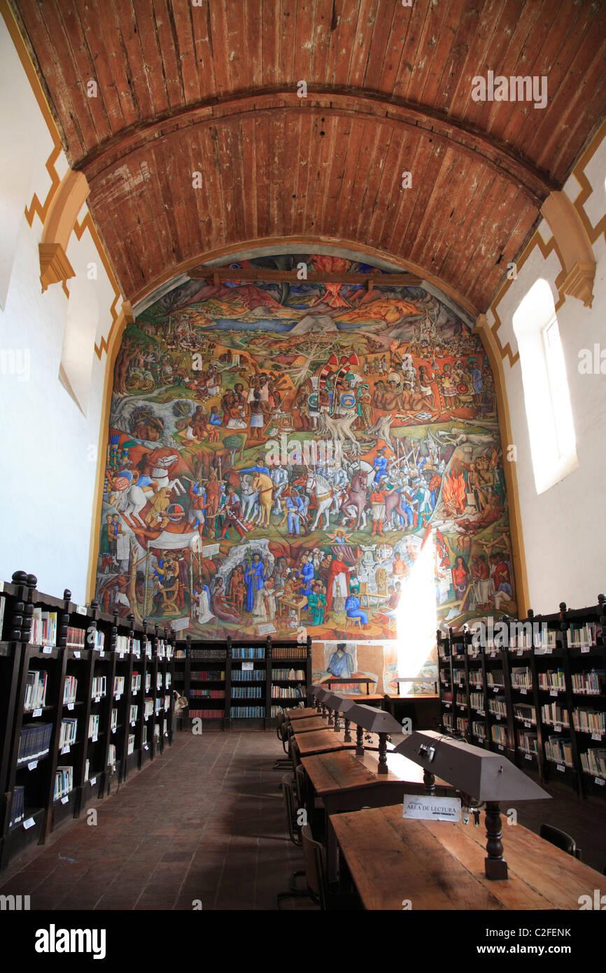 Mural, Library, Patzcuaro, Patzcuaro, Michoacan state, Mexico, North America - Stock Image