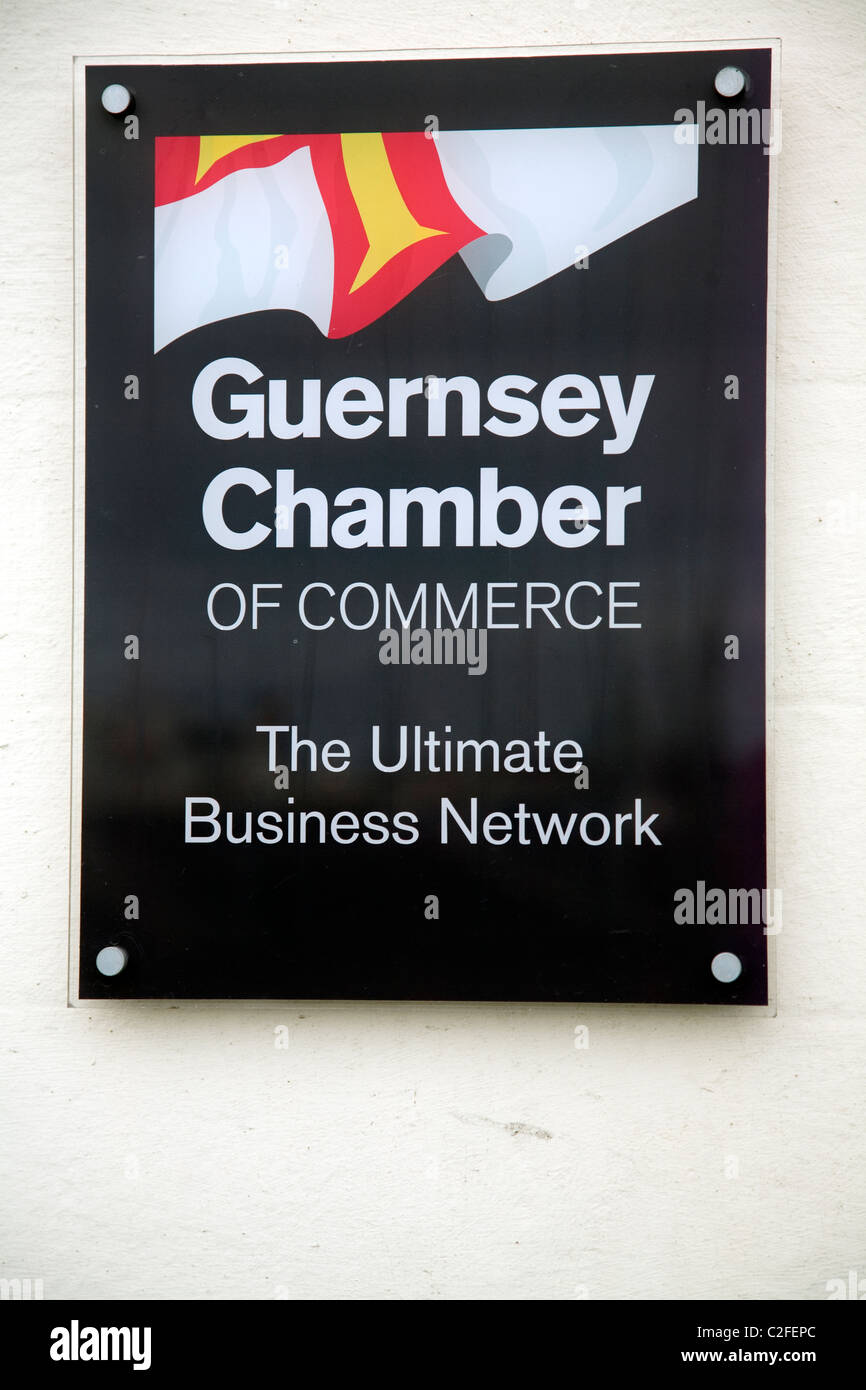 Chamber of Commerce sign Guernsey, Channel islands - Stock Image