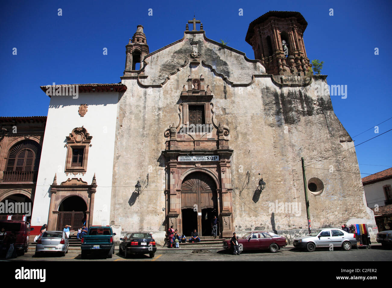 Library, Patzcuaro, Michoacan state, Mexico, North America - Stock Image