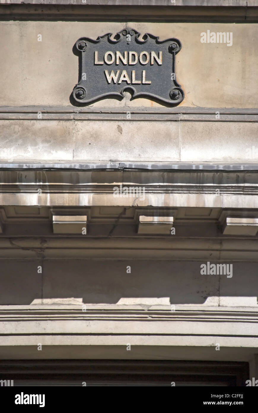 vintage street name sign for london wall, in the city of london, england - Stock Image