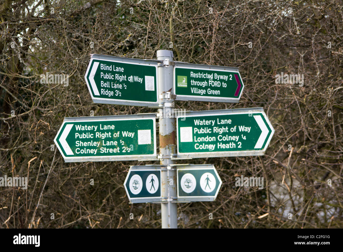 Public Right of way footpath signs - Stock Image