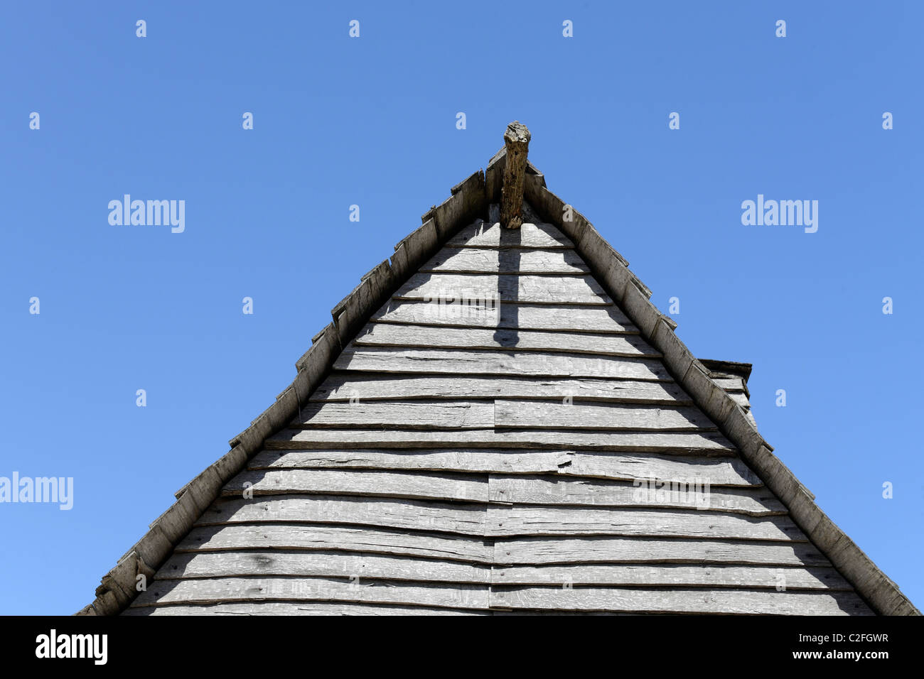 Plimouth Plantation. Recreated colonial pilgrim village of 1627 Plimouth village. - Stock Image
