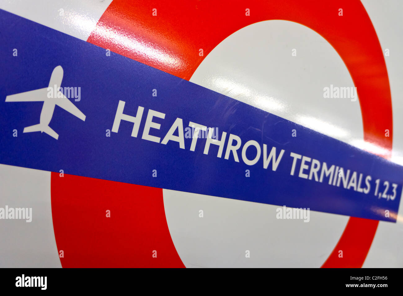 Heathrow Terminals 1 2 3 underground station sign - Stock Image