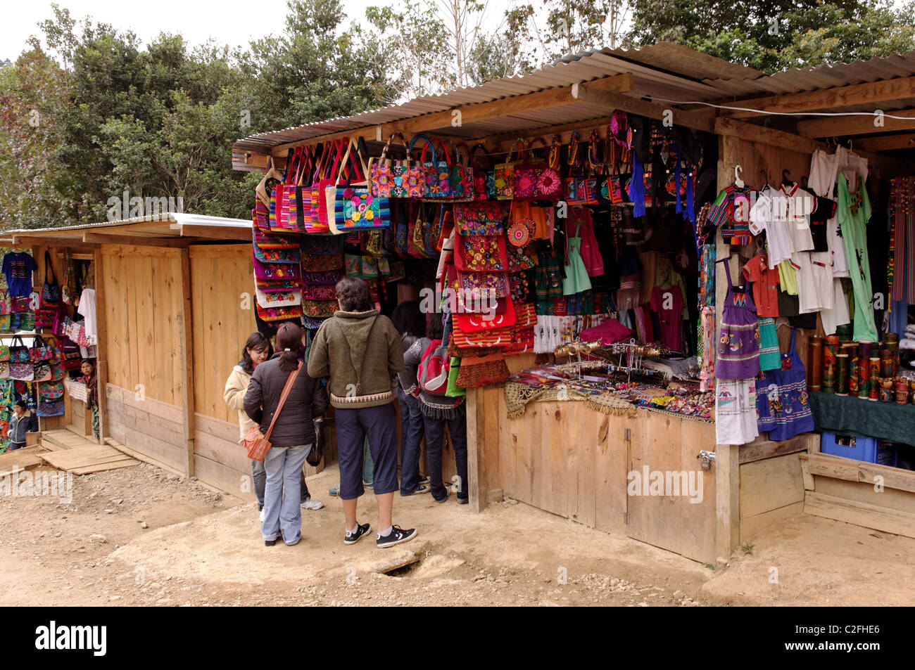 Bags Clothes And Handicrafts Shop In Guatemala Stock Photo