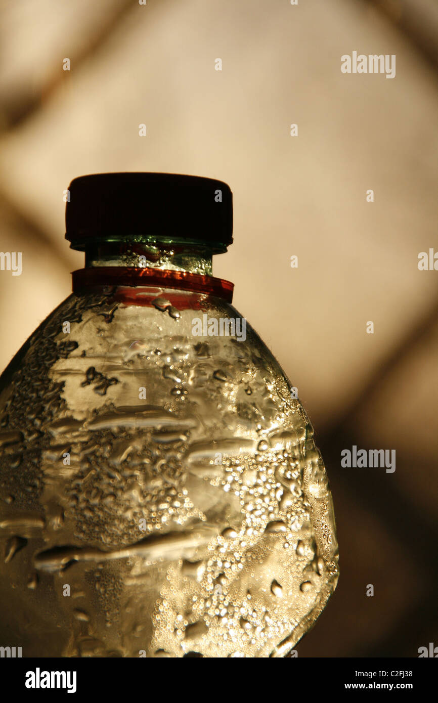 close up detail of plastic water bottle - Stock Image
