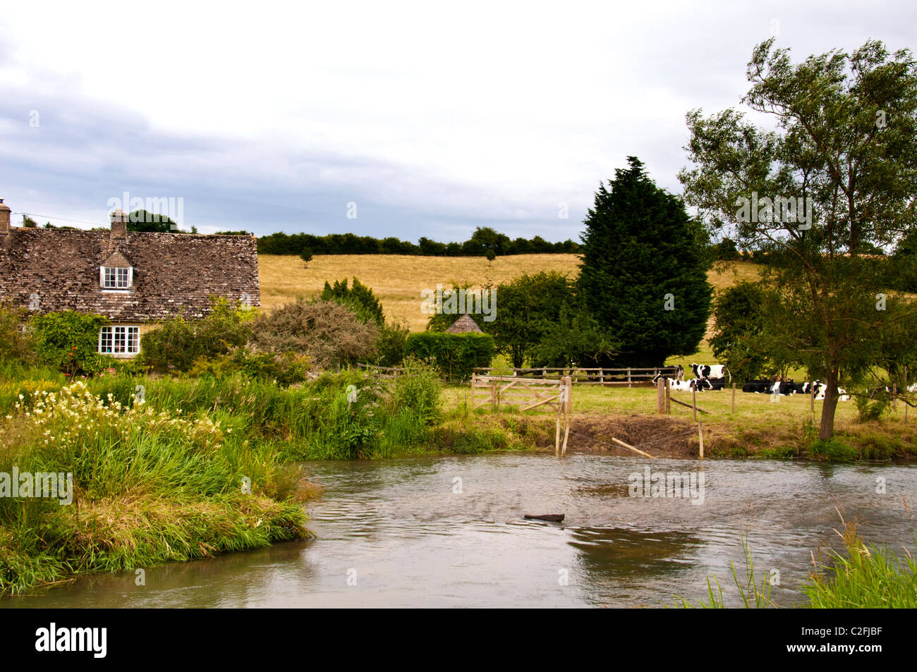 Pastoral scene at the river windrush  at Swinbrook, idyllische Szene am Flusse Windrush nahe Swinbrook Stock Photo