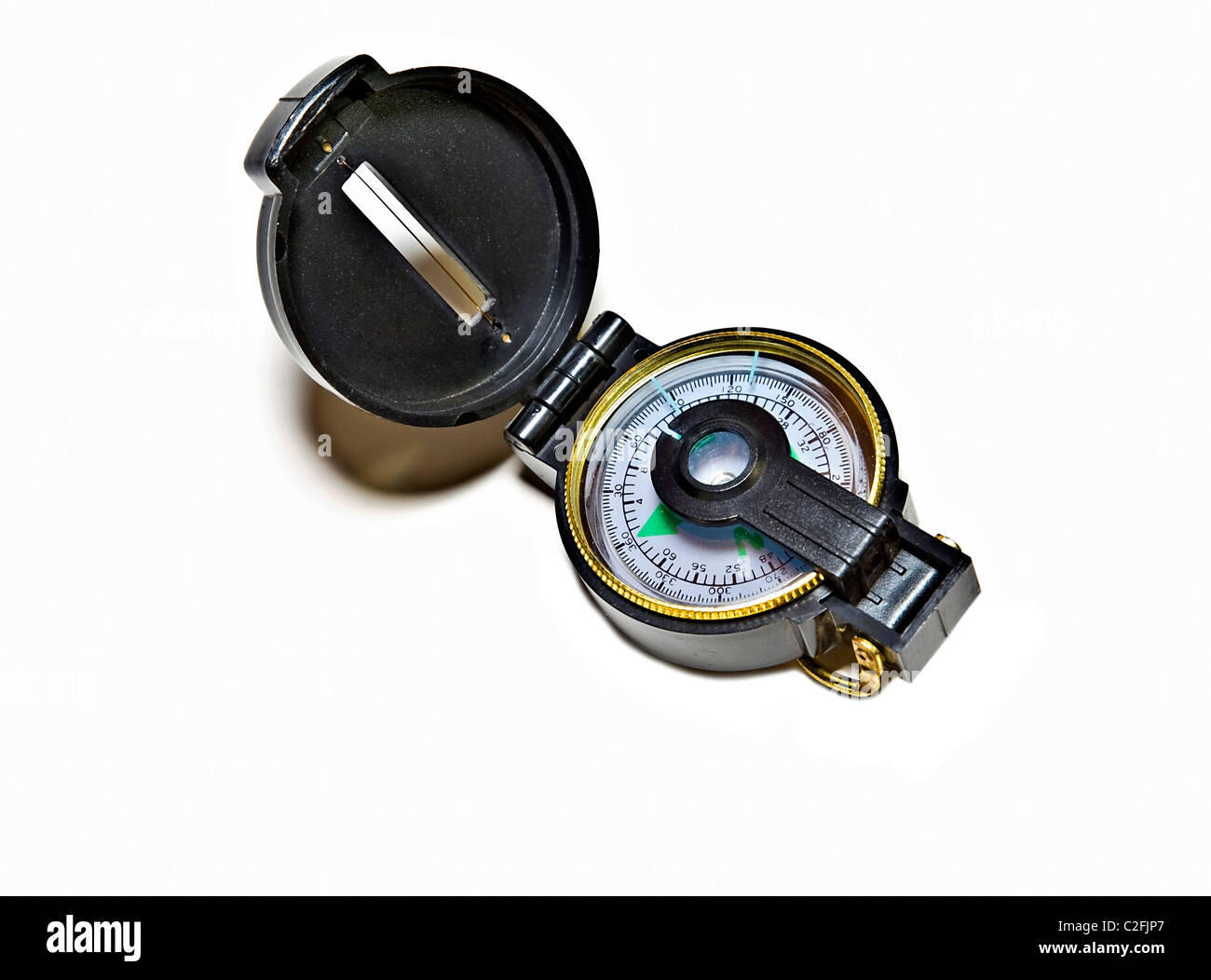 Close-up of a round engineering compass. - Stock Image