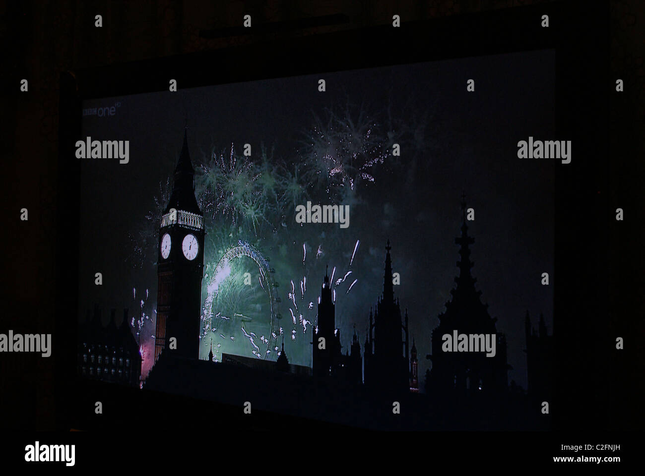 New year's fireworks on tele - Stock Image