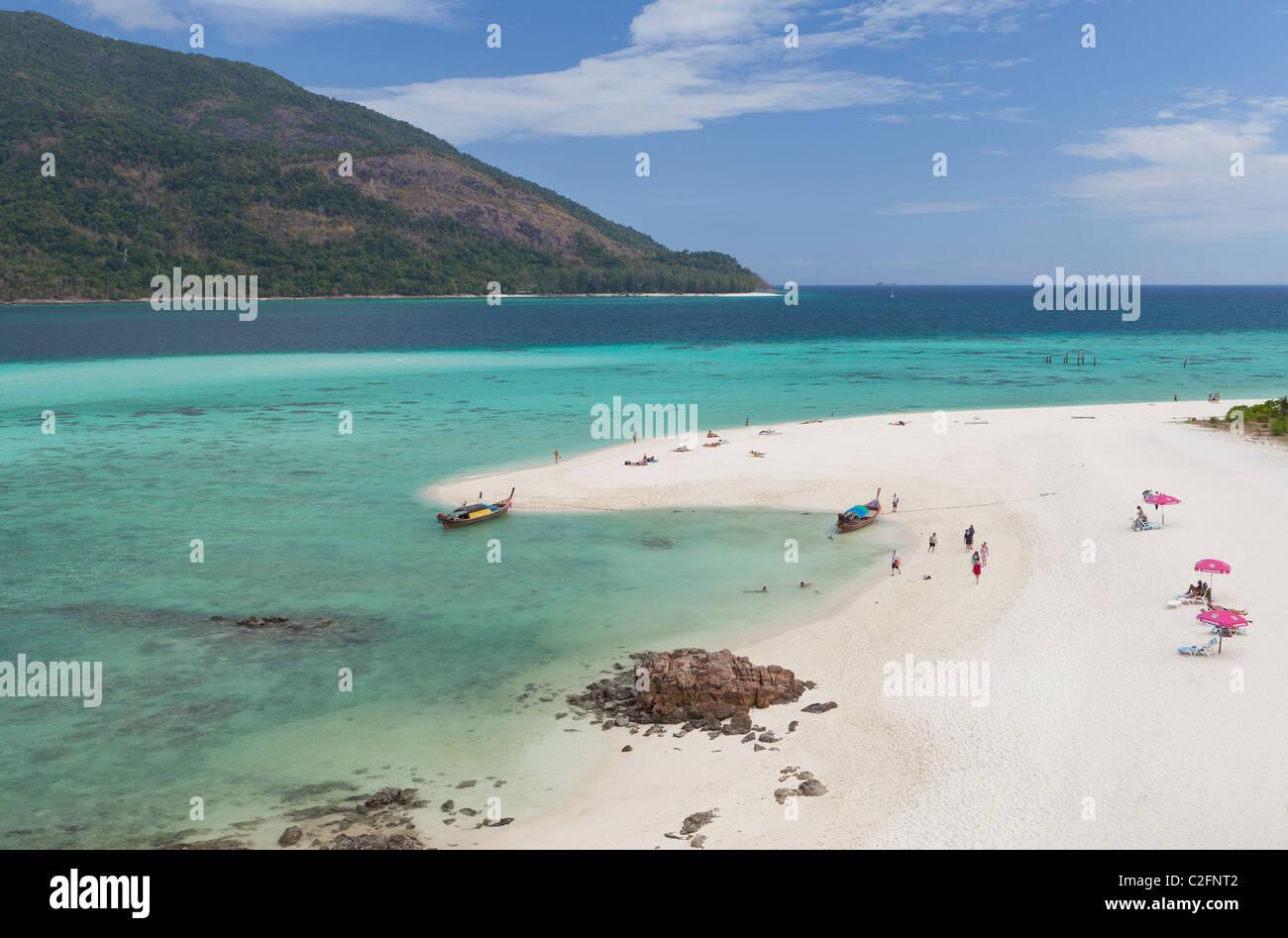 White strip of sand on Ko Lipe,Thailand - Stock Image