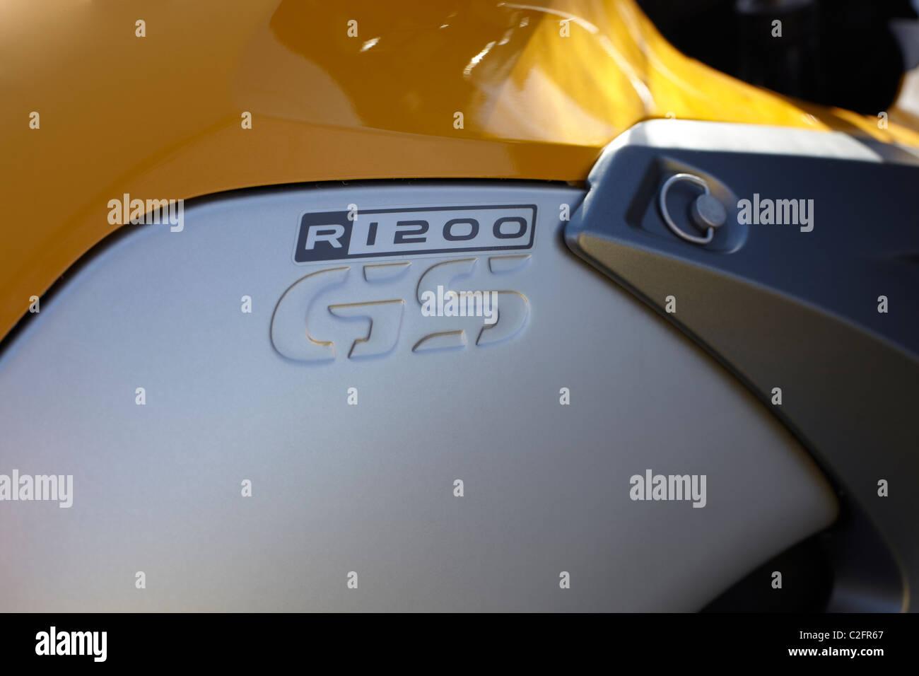 BMW R1200gs side tank detail yellow - Stock Image