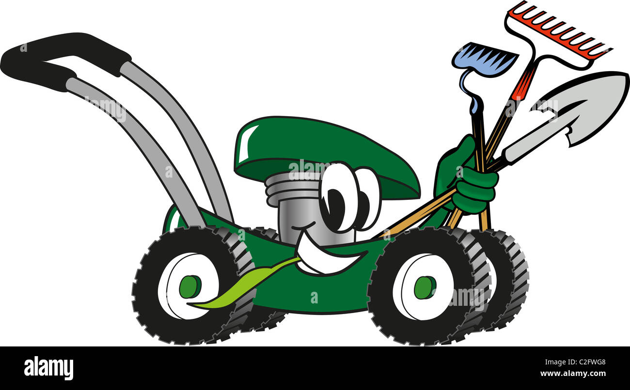 Cartoon lawn mower holding lawn maintenance tools stock for Gardening tools cartoon