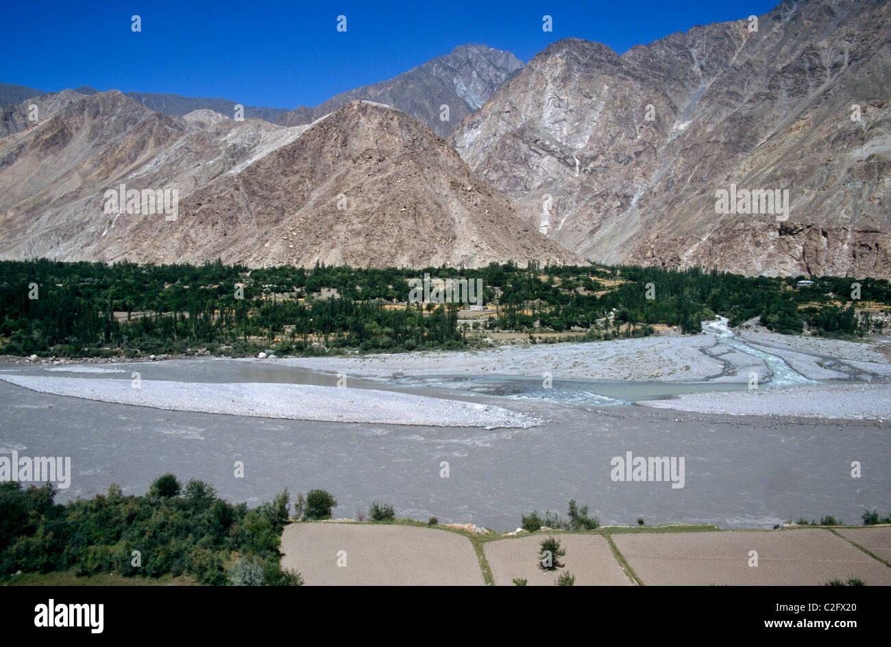 Hunza River  Pakistan - Stock Image