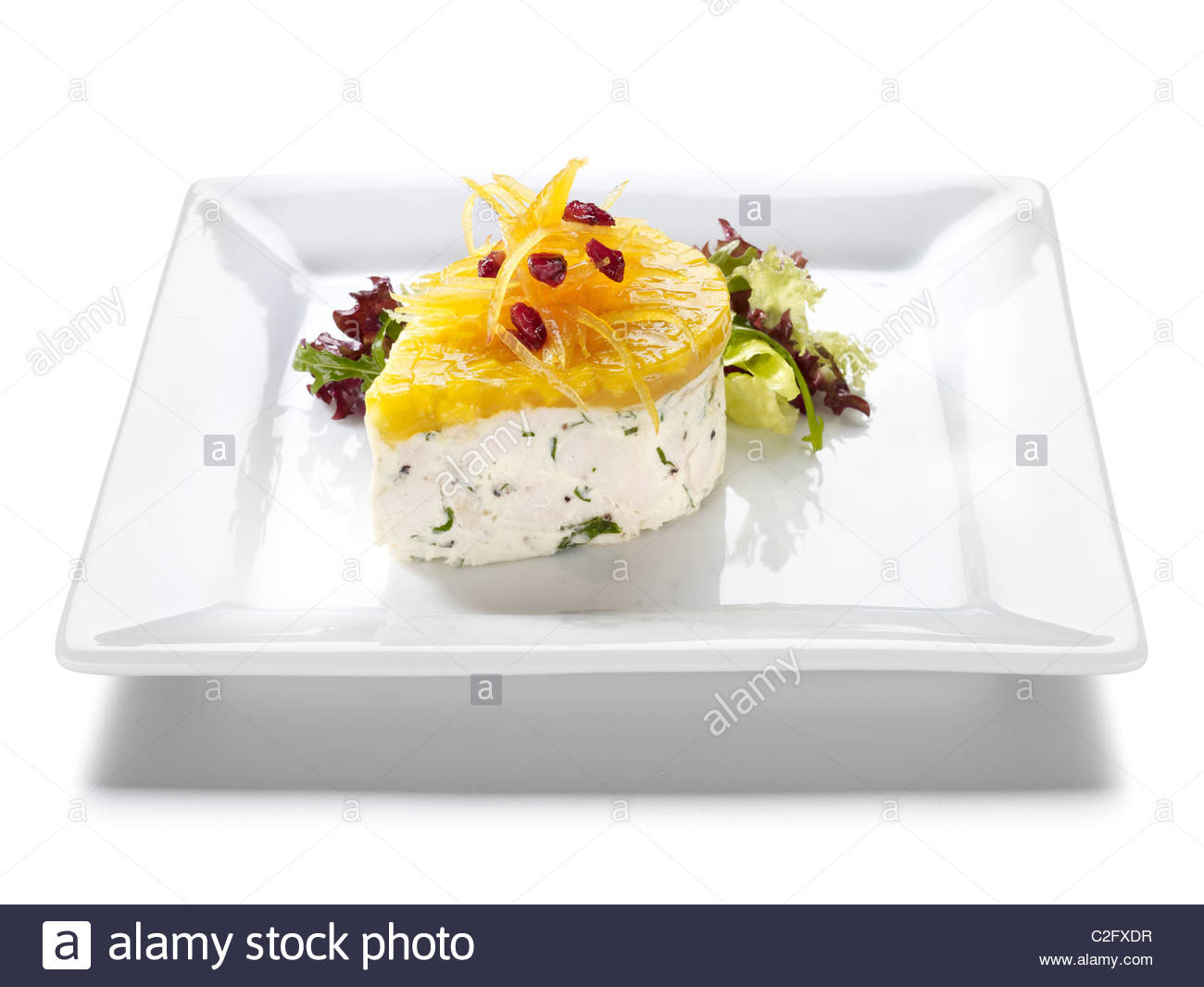 herb cream cheese and fruit starter - Stock Image