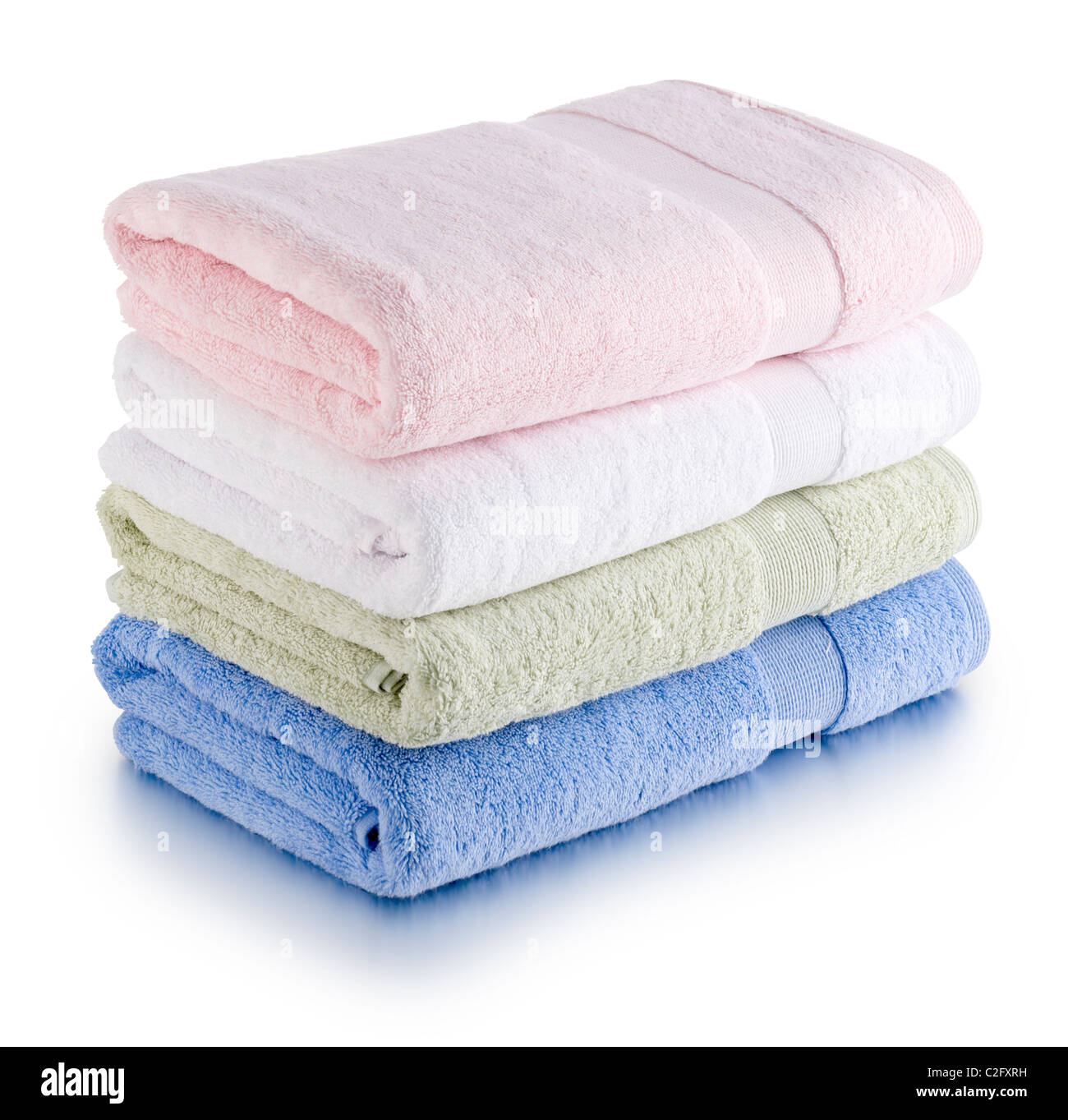 stack of colored towels - Stock Image