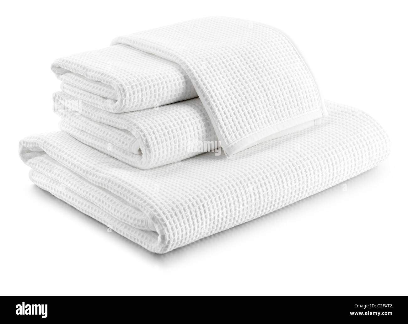 stack of white waffle towels - Stock Image