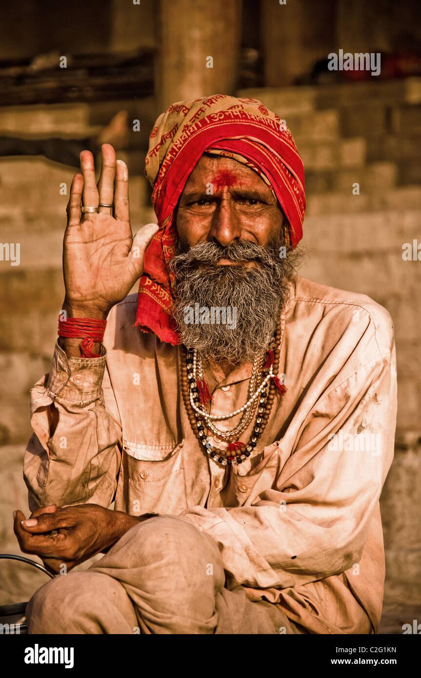 Sadhu from Varanasi, India - Stock Image