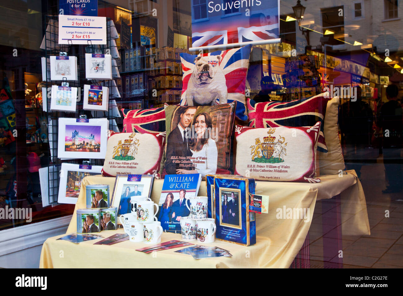 Display of Royal Wedding, William and Kate, souvenirs,memorabilia and gifts in a shop or store window in Windsor, - Stock Image