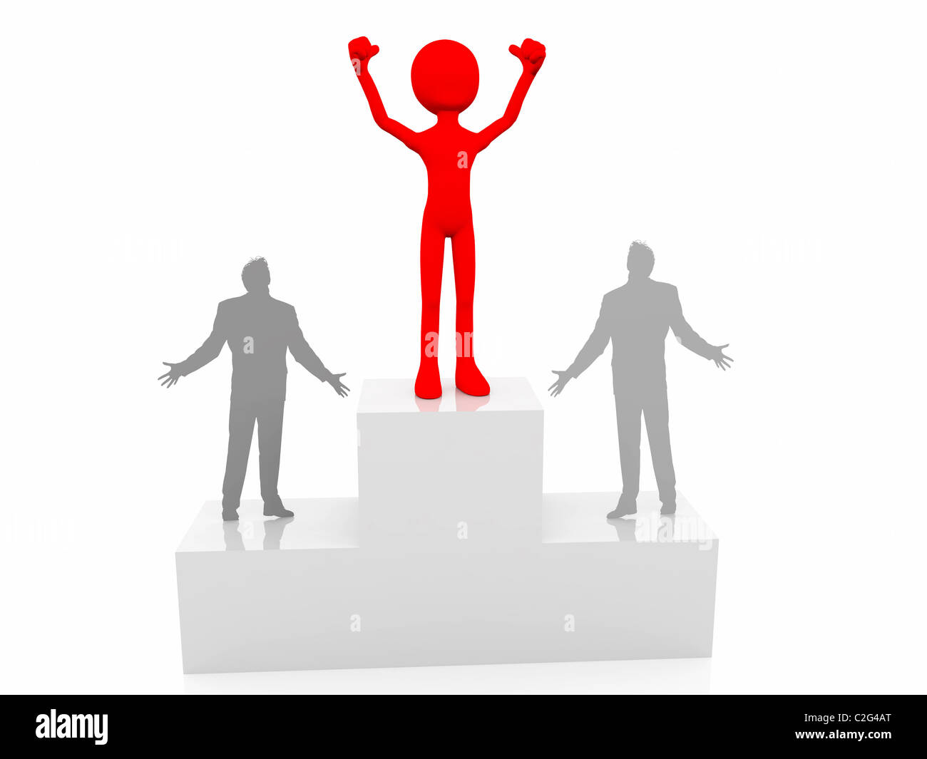 Blank person takes 1st place. Blank person standing proud. Achievement with distinction. Best. Greatest. Top. Top - Stock Image