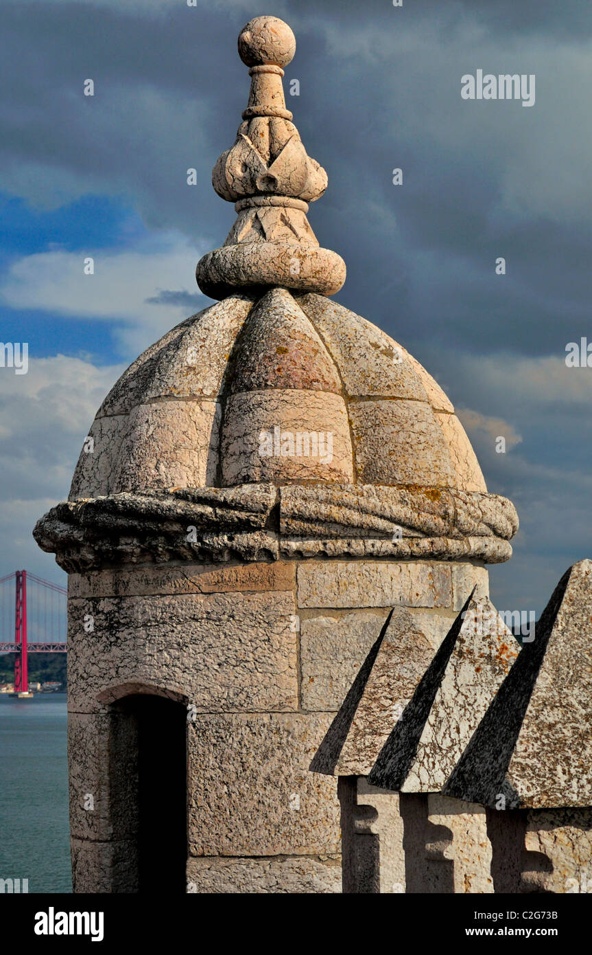 Portugal, Lisbon: Detail of the Tower of Belém - Stock Image