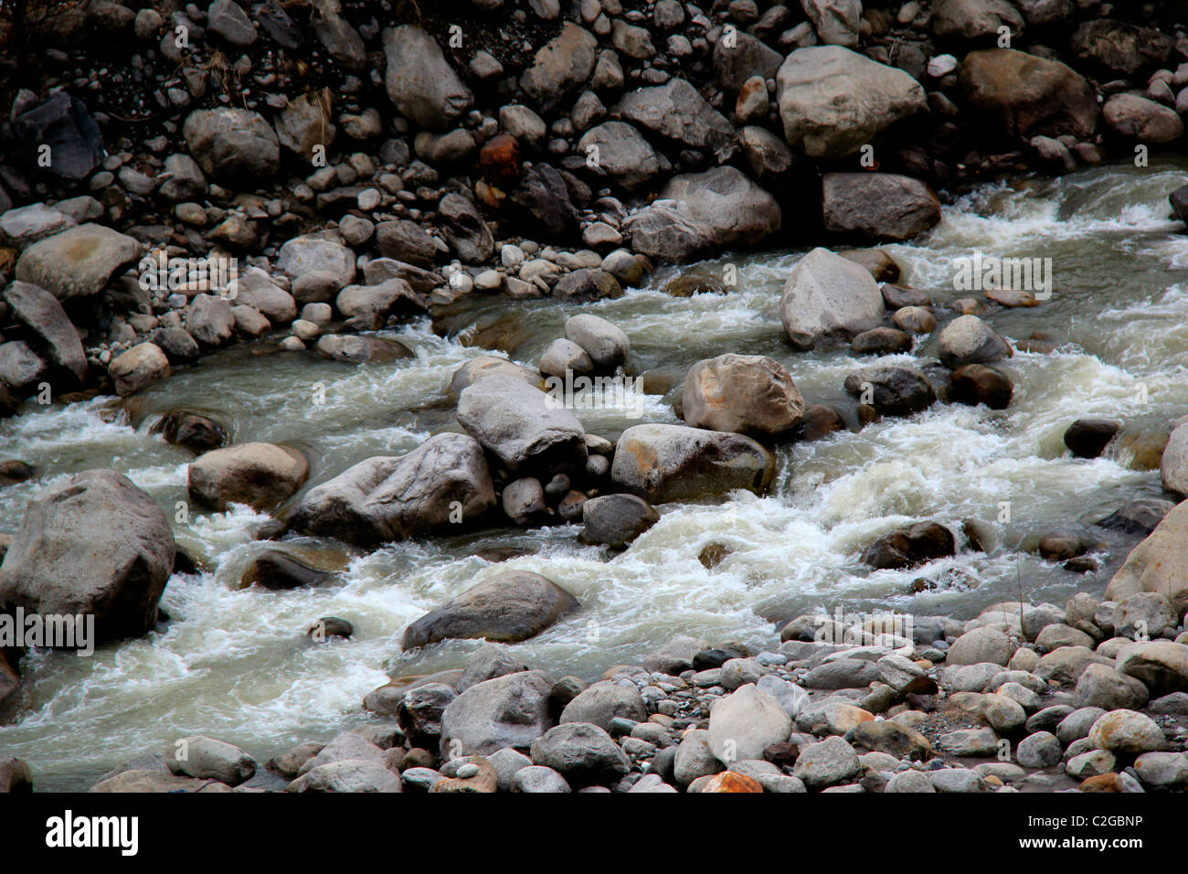 Mountain rivers of Manali, Himachal Pradesh,India - Stock Image