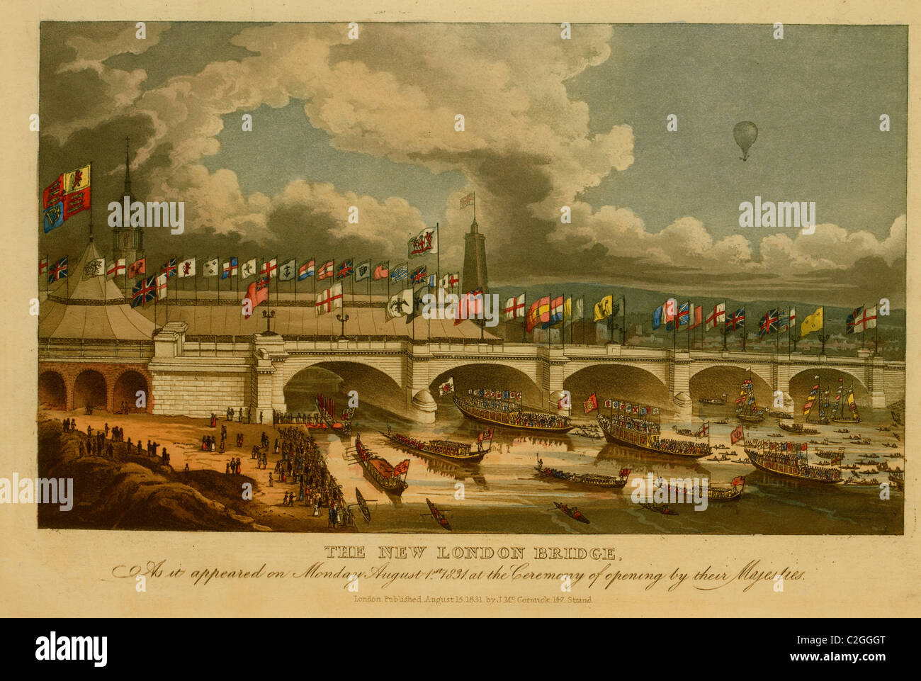 The new London bridge, as it appeared on Monday, August 1st, 1831, at the ceremony of opening by their Majesties - Stock Image