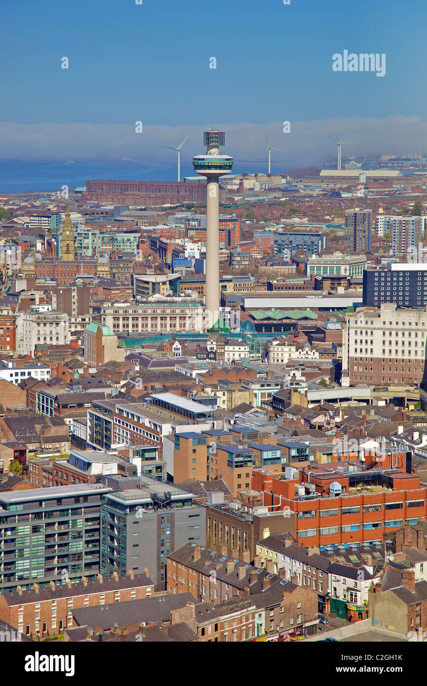 Aerial view of Liverpool city centre from Anglican cathedral tower with the St. John's beacon in the centre. Stock Photo