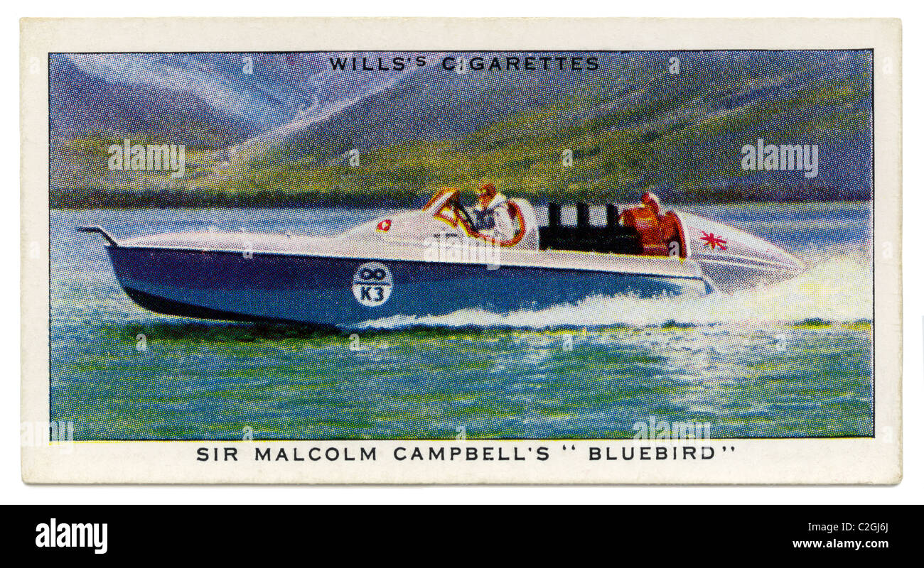 Sir Malcolm Campbell's 'Bluebird'. This British Rolls Royce powered boat held the world water speed - Stock Image
