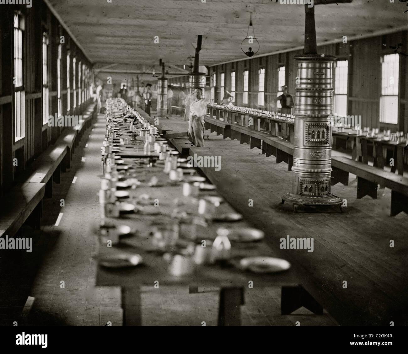 Washington, D.C. Mess hall at Harewood Hospital, heated by elaborate stoves - Stock Image