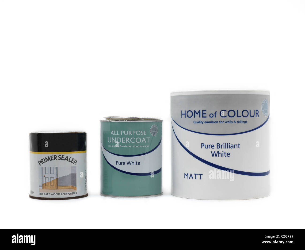 Tins of Primer Sealer, Emulsion and All Purpose Undercoat Paint - Stock Image