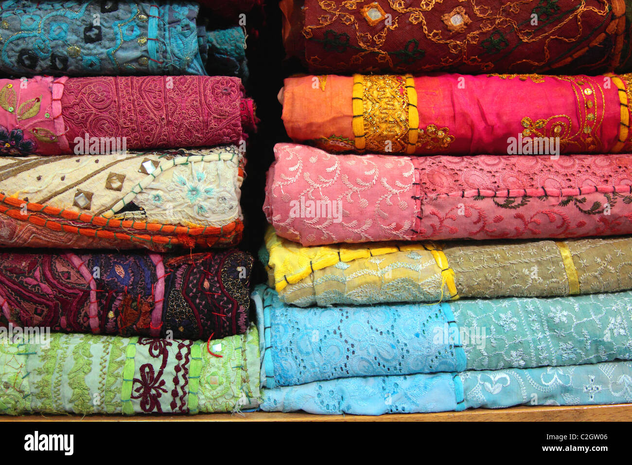 Silk fabric, Damascus, Syria Stock Photo