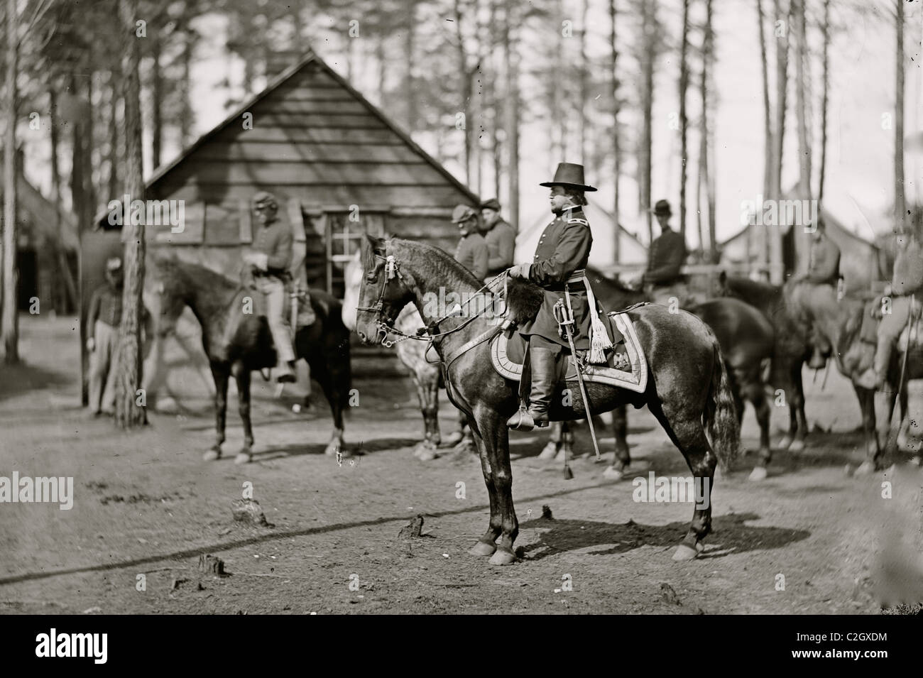 Brandy Station, Va. Gen. Rufus Ingalls on horseback - Stock Image