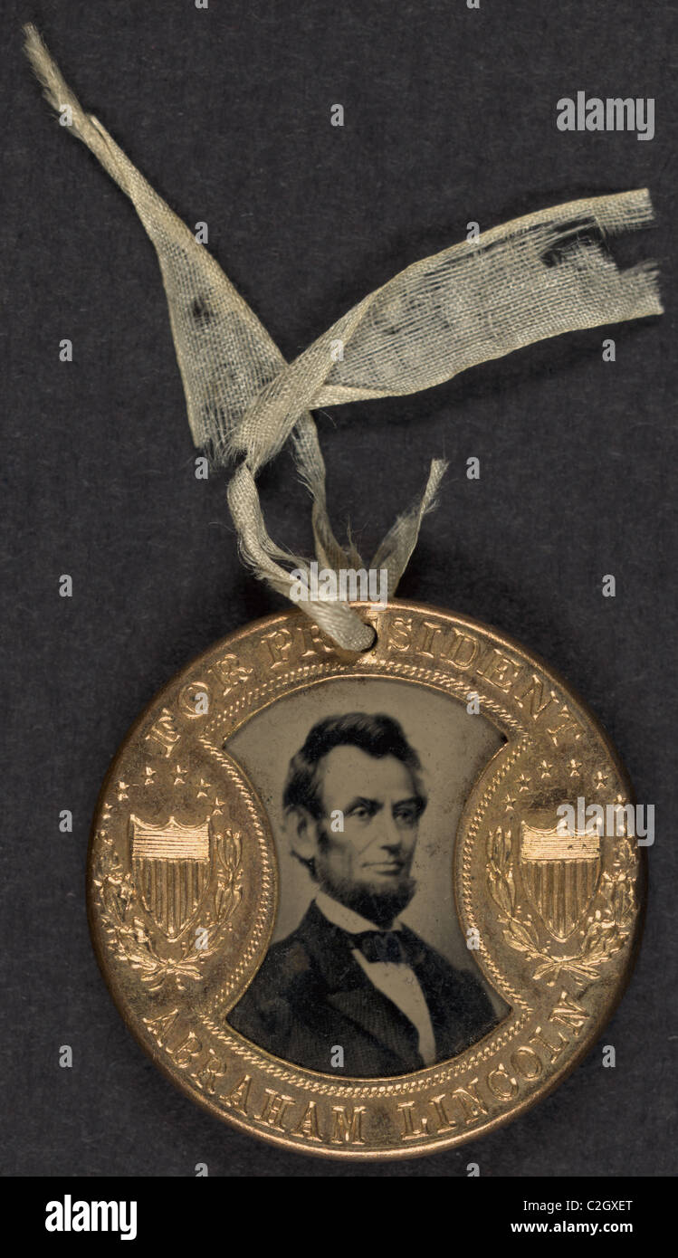 For president Abraham Lincoln -- For vice president Andrew Johnson Campaign Medal - Stock Image