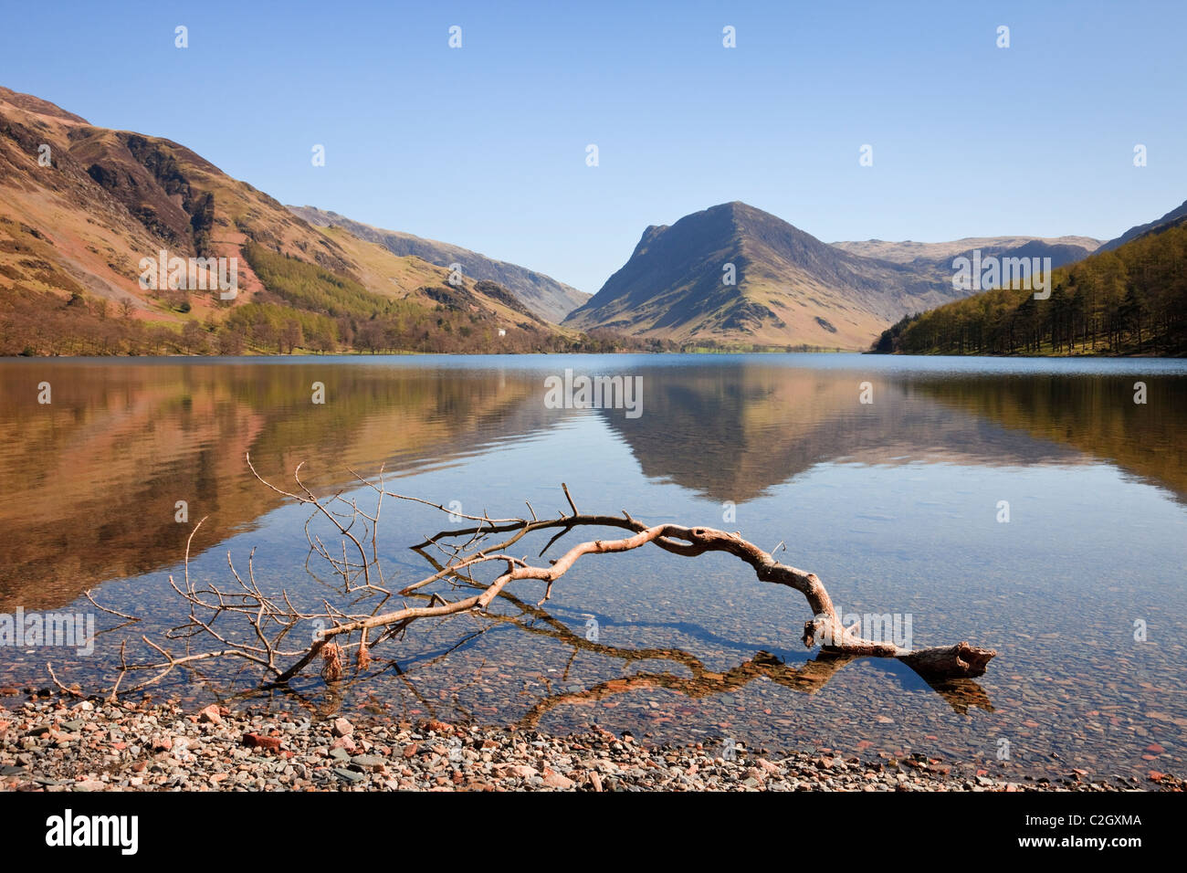 Scenic view to Fleetwith Pike mountain reflected in Buttermere Lake in the Lake District National Park, Buttermere, - Stock Image