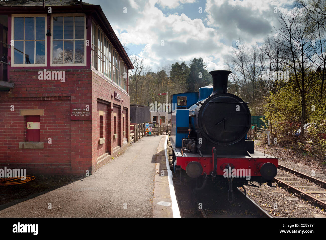 A steam train at Lakeside station on the Lakeside and Haverthwaite railway in the lake district on Windermere. Stock Photo