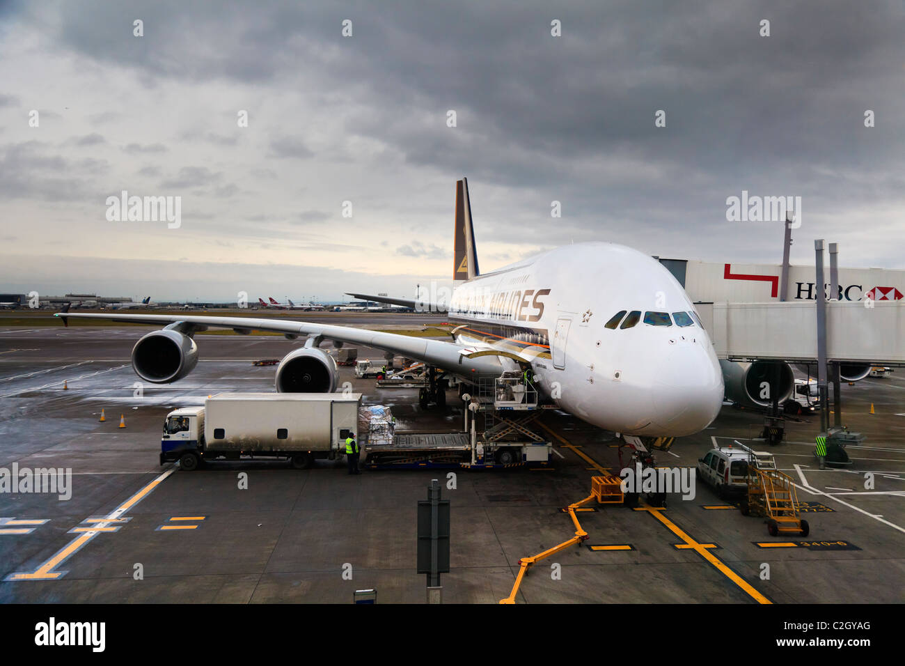 England, London, Heathrow Airport, Airbus A380 on the runway - Stock Image