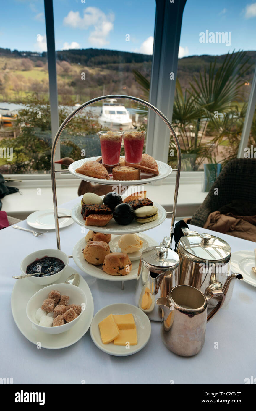 Afternoon tea in a 4 star hotel. - Stock Image