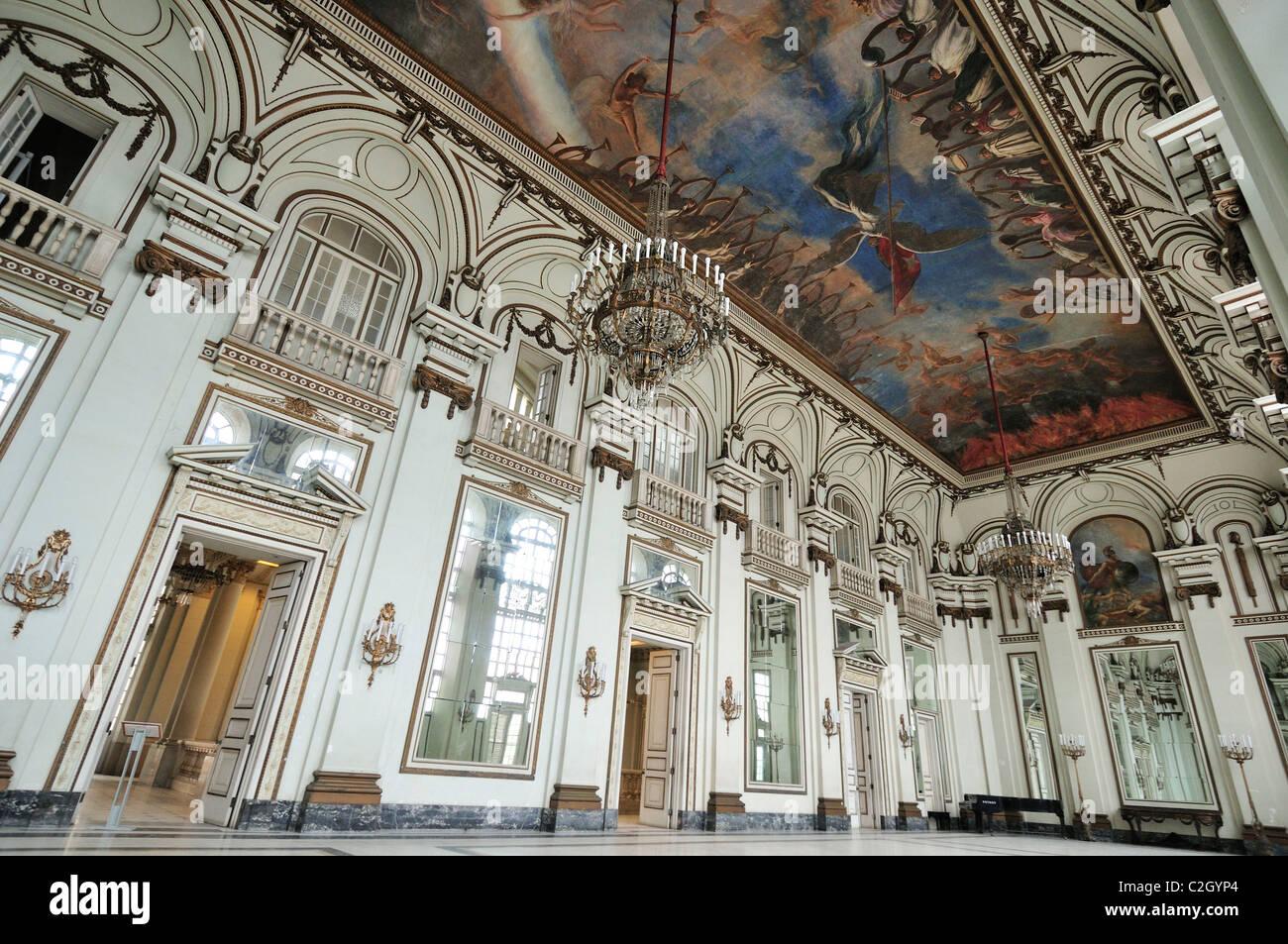 Havana. Cuba. Hall of Mirrors (Salon de los Espejos), Museum of the Revolution / Museo de la Revolucion, in the - Stock Image