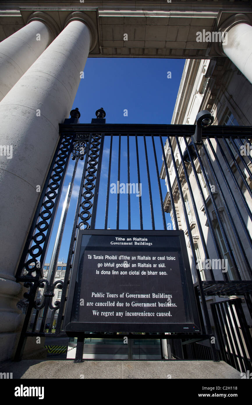 entrance railing at Dail Eireann the irish government parliment building. Stock Photo