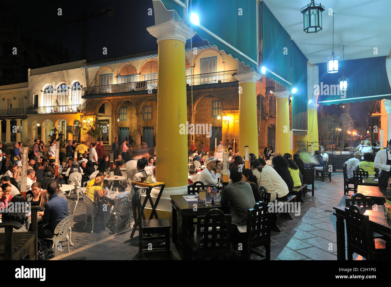 Havana. Cuba. Restaurant & Beer hall Factoria on Plaza Vieja, Habana Vieja / Old Havana. - Stock Image