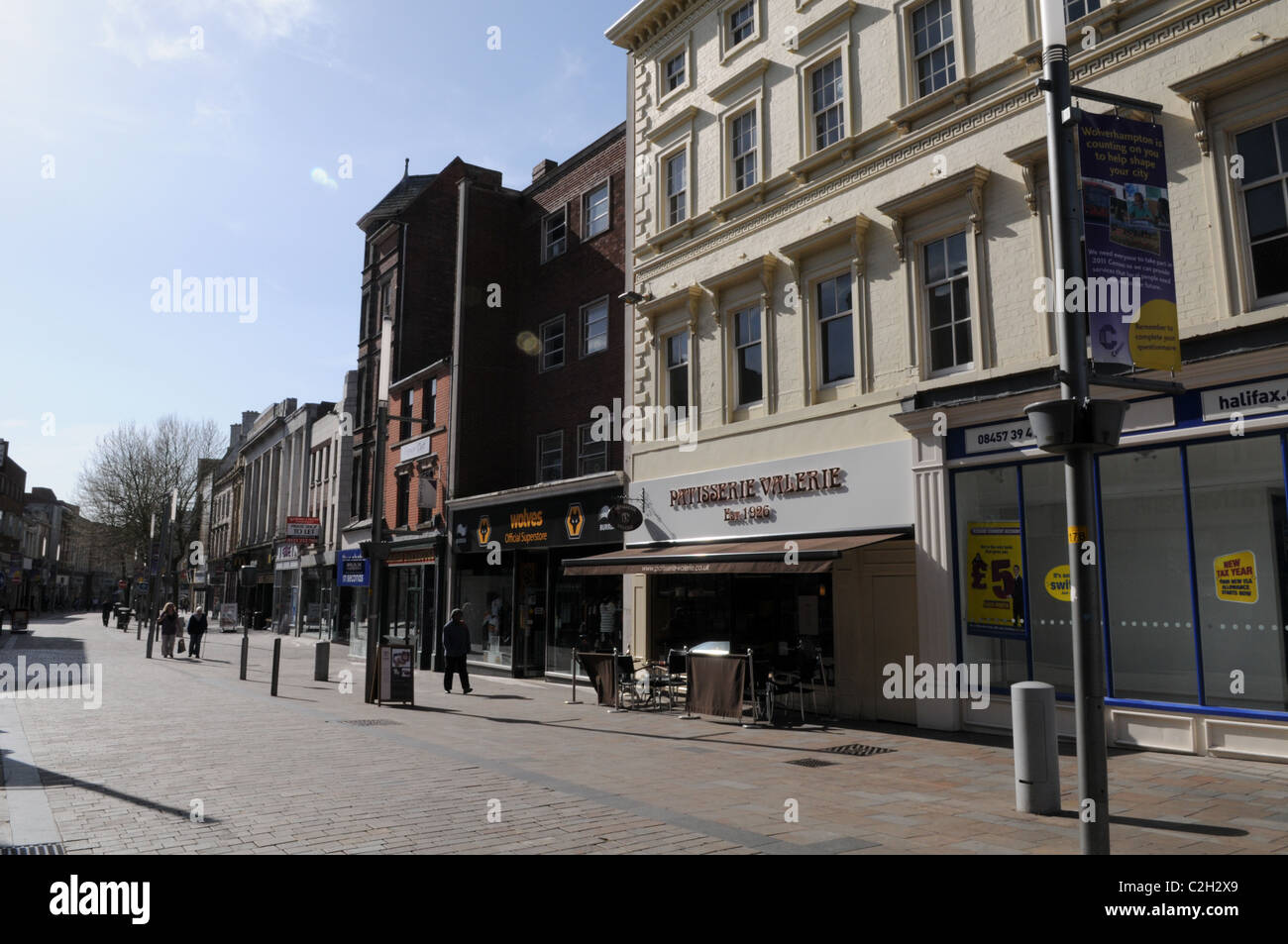 A quiet Dudley Street, the main shopping area in Wolverhampton City Centre - Stock Image
