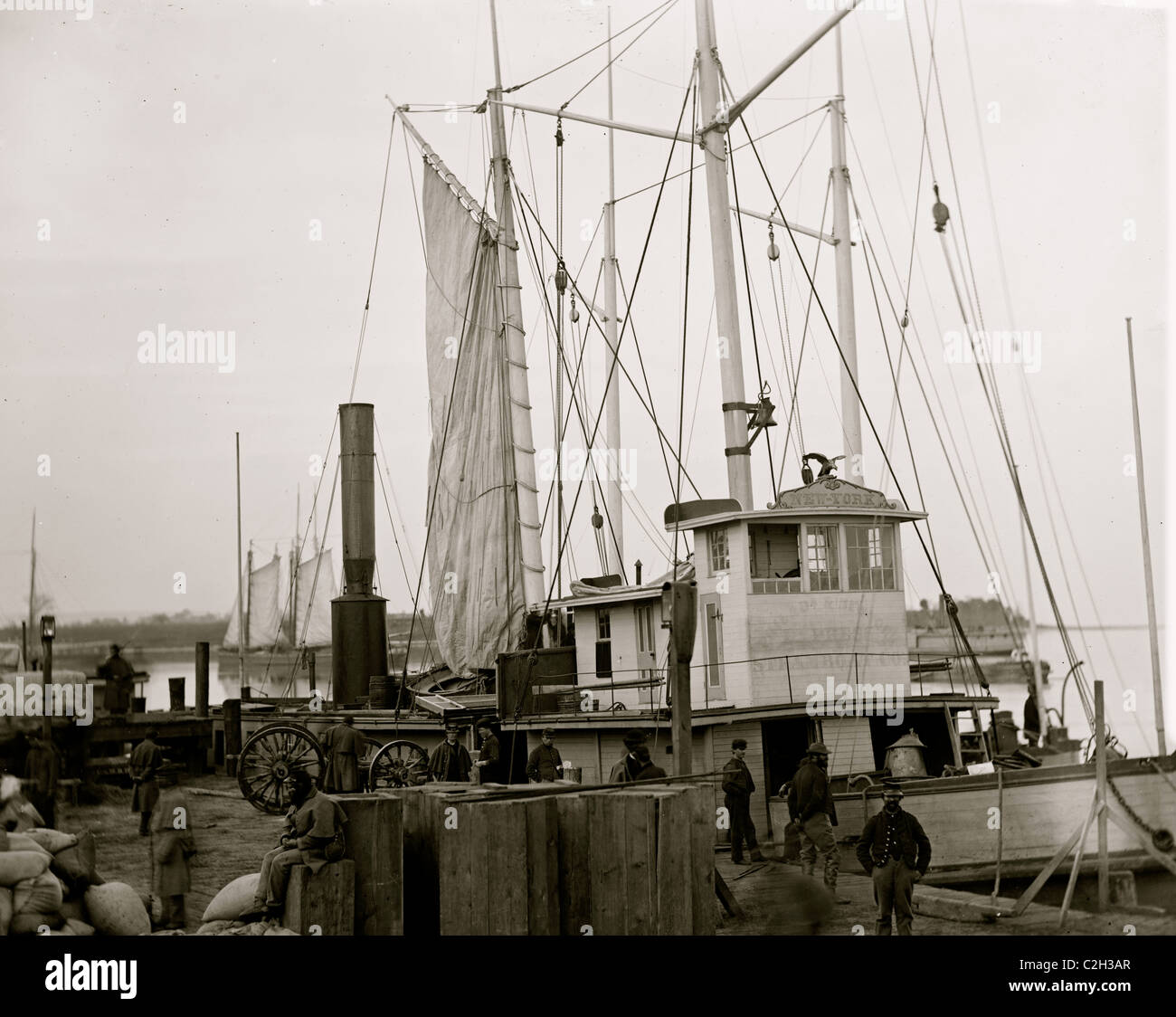 Aquia Creek Landing, Va. Wharf with transport and supplies - Stock Image