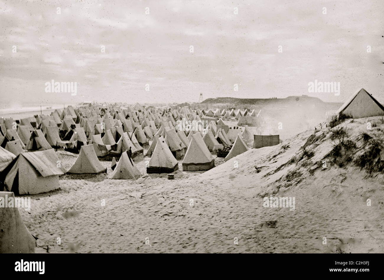 Federal camp on beach - Stock Image