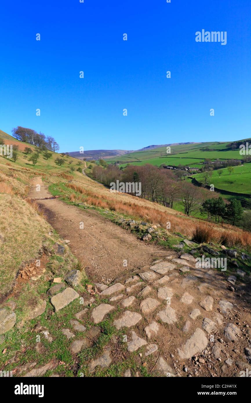 Pennine Bridleway near Kinder Scout, Hayfield, Derbyshire, Peak District National Park, England, UK. - Stock Image