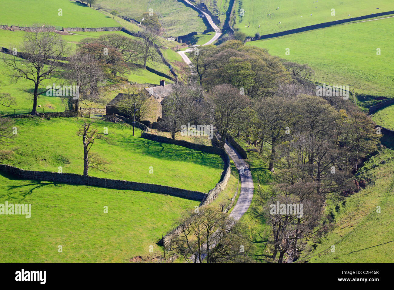 Coldwell Clough Farm below Kinder Scout, Hayfield, Derbyshire, Peak District National Park, England, UK. - Stock Image