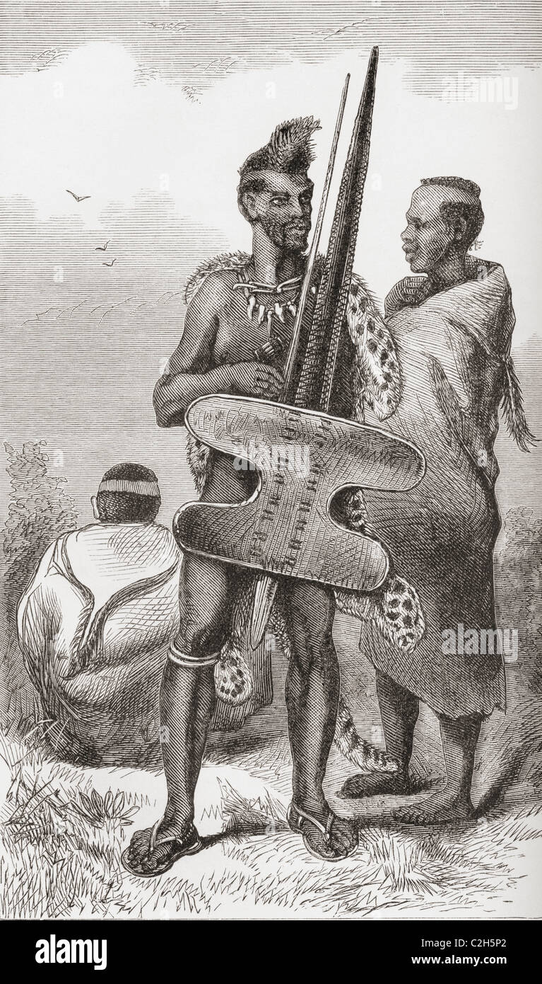 A Bechuana Warrior in the 19th century. - Stock Image